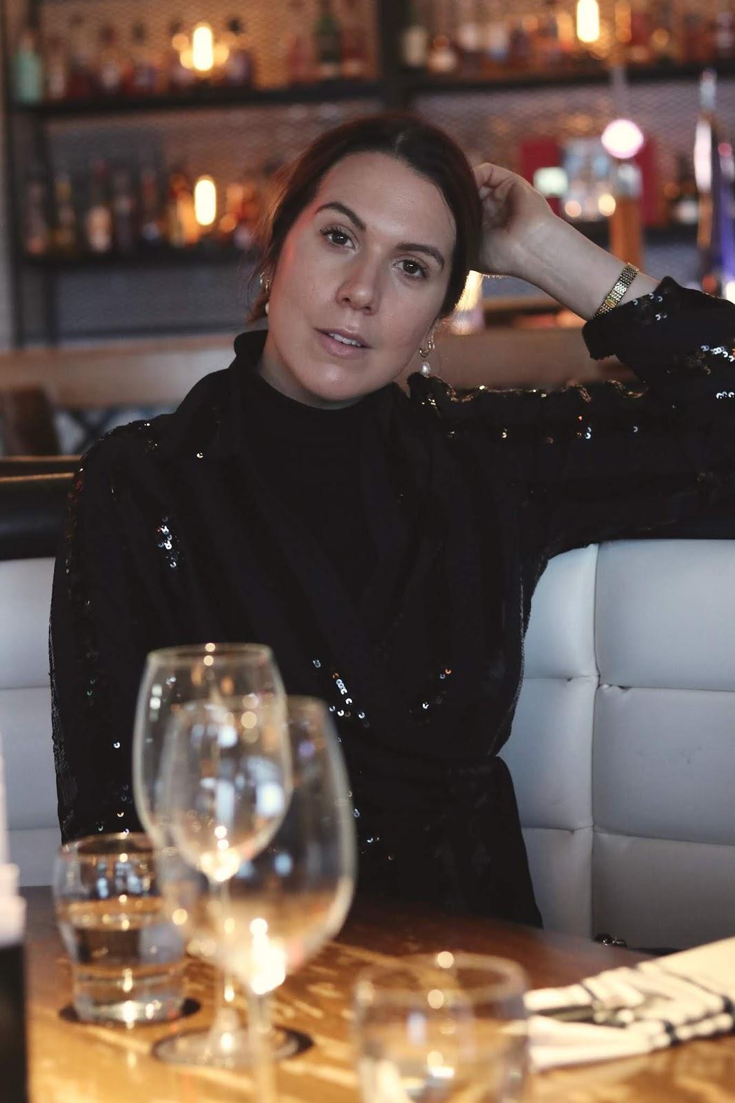 le chateau sequin blouse festive party nye outfit idea vancouver blogger aleesha harris