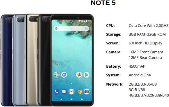 Infinix NOTE5 SmartPhone Android One Fingerprint 4500mAh Octa-core infinix cell phone