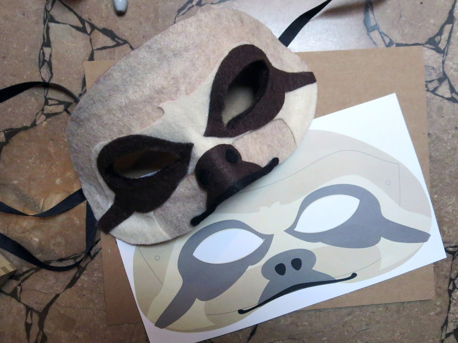 Happenstance wedding felt animal masks for Sloth mask template