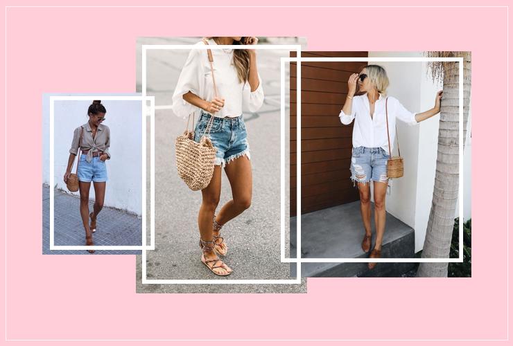 Bolsa de palha com calça shorts