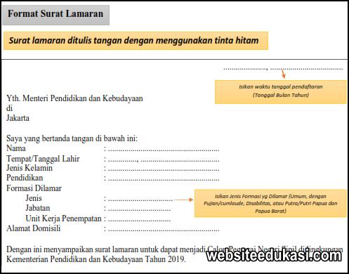 Surat Lamaran Cpns Kemendikbud 2019 Format Word Websiteedukasi Com