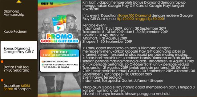 Top up melalui Google Play Gift Card bisa dapetin Bonus Diamond loh Event Free Fire Bonus 100 Diamond Google Play Gift Card