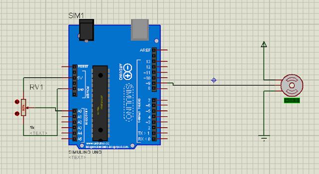 Servo motor control using potentiometer