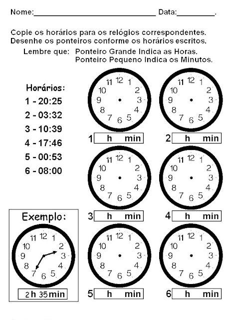 Atividades para trabalhar as Horas