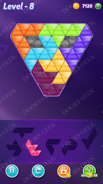 Block! Triangle Puzzle Intermediate Level 8 Solution, Cheats, Walkthrough for Android, iPhone, iPad and iPod