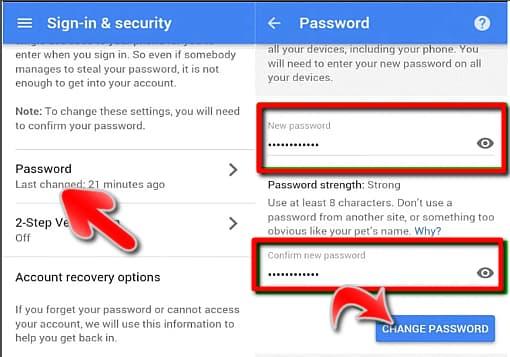 تغيير باسورد Gmail من الموبايل
