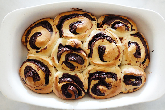 baked rolls in pan right out of the oven