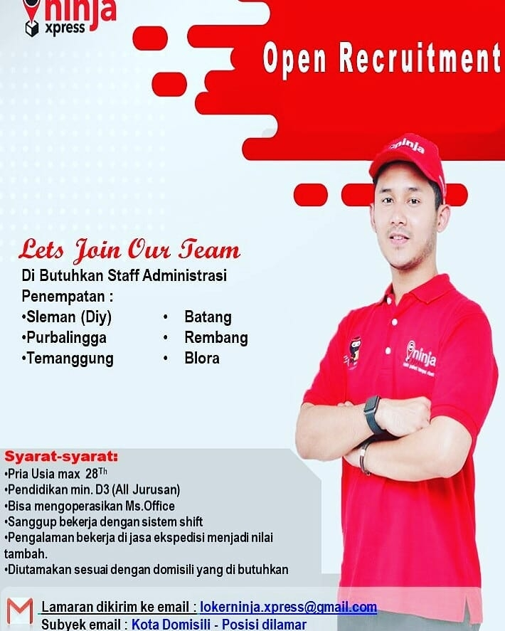 Lowongan Kerja Staff Administrasi Ninja Xpress Rembang