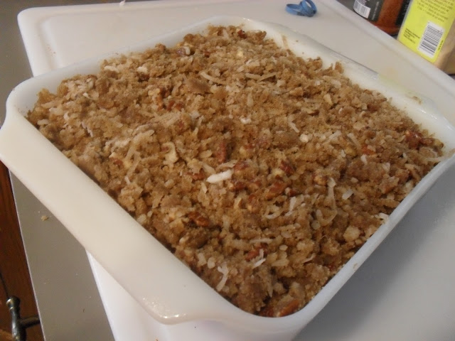 My pumpkin casserole topped with pecans and coconut