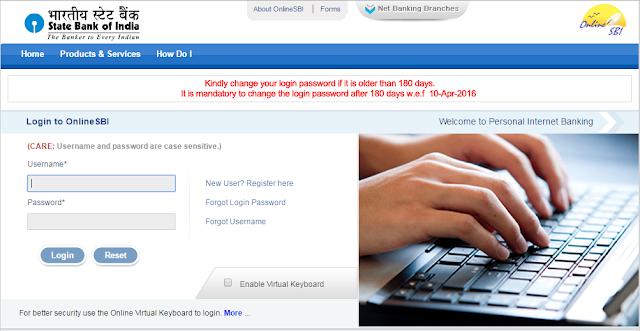 sbi online net banking login