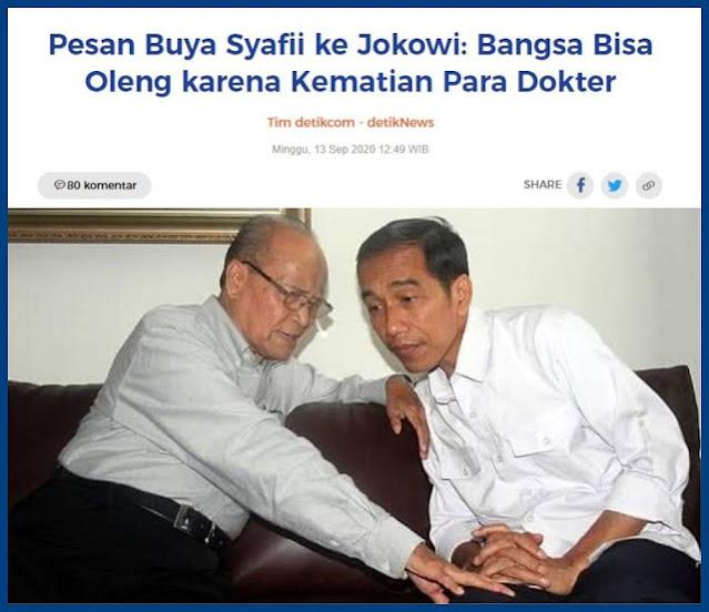 Syafii Maa'rif akhirnya terbangun juga. Kemarin, mantan ketua PP Muhammdiyah itu berkirim surat kepada Presiden Joko Widodo (Jokowi). Bukan surat yang berisi marah-marah. Hanya perasaan sedih beliau. Lebih tepat keprihatinan terhadap penanganan wabah Covid-19.
