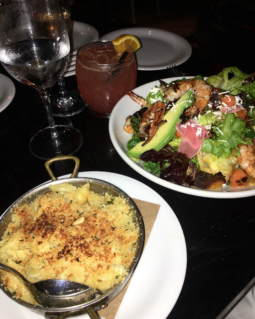 Dinner at the Refinery hotel, with yummy avocado and shrimp salad, mac and cheese, and drinks!