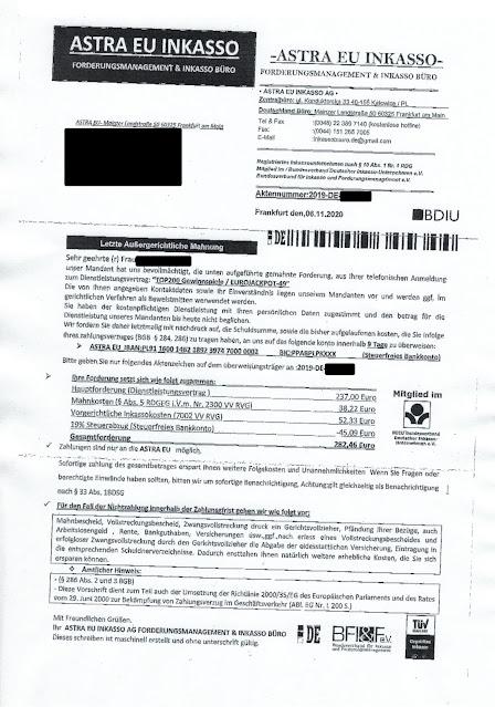 Scan: Forderung Astra EU Inkasso / Nov 2020
