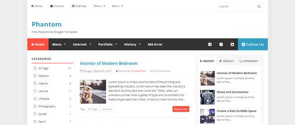 Phantom blogger teması, blogger magazin teması, blogger haber teması, ücretsiz blogger temaları
