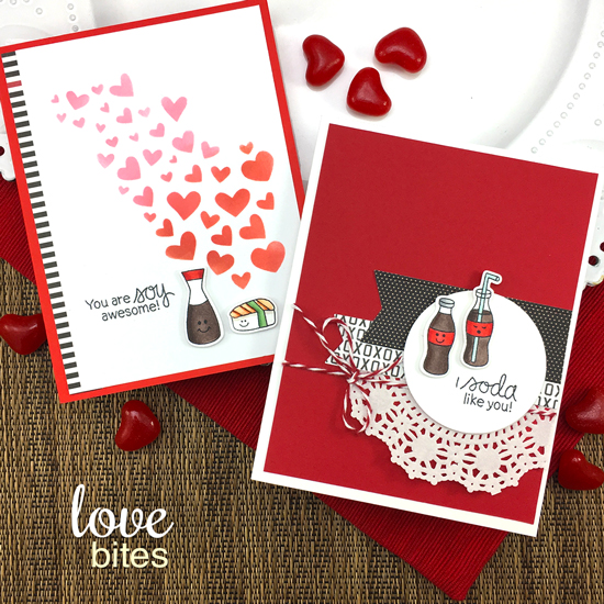 Foodie Valentine Cards by Jennifer Jackson | Love Bites Stamp Set by Newton's Nook Designs #newtonsnook #handmade