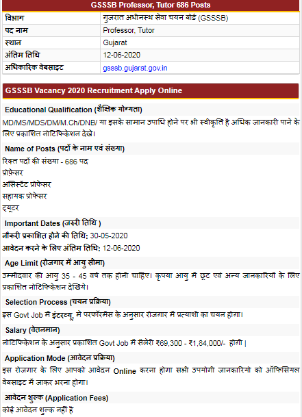 GSSSB Gujarat Assistant Professor Online Application form 2020