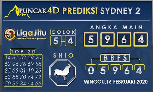 PREDIKSI TOGEL SYDNEY2 PUNCAK4D 16 FEBRUARI 2020