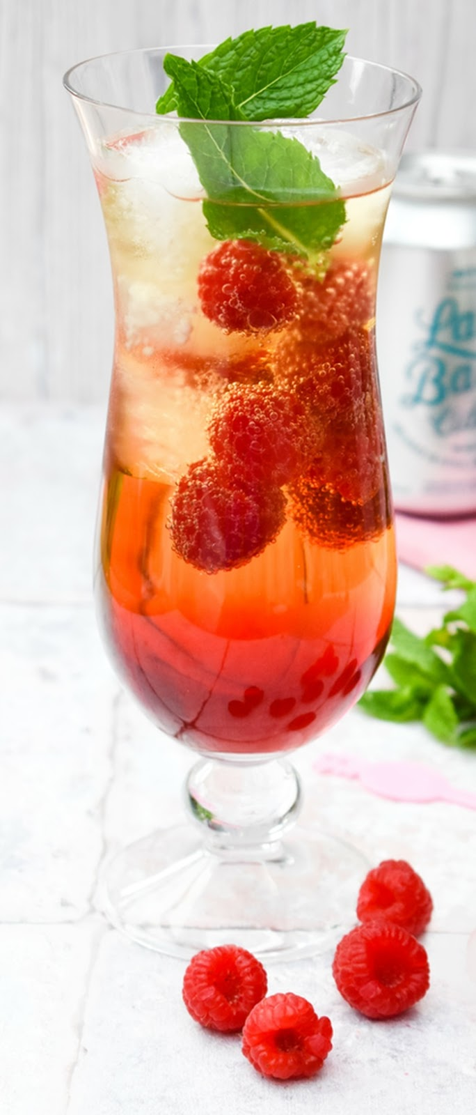 Close up of Scottish Raspberry & Mint Cider Cooler Cocktail