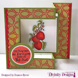 Stamp Set:  Apple Branch  Custom Dies: Tri-Fold Card with Layers, Double Stitched Circles, Bitty Borders  Mixed Media Stencils: Petals
