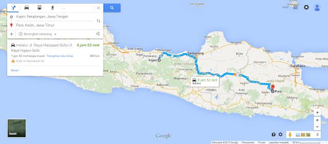 Cara mengetahui jarak antar kota dengan Google map.