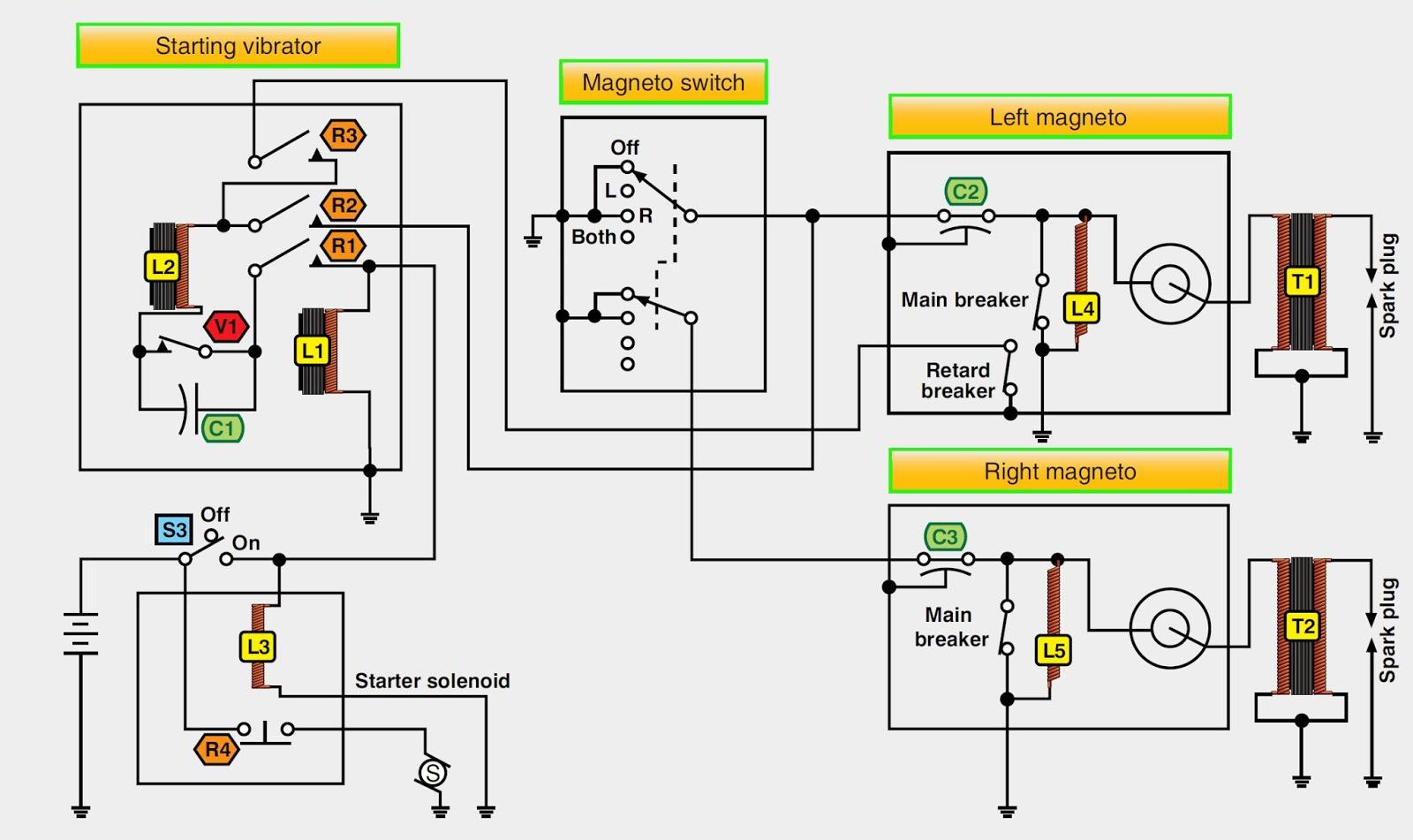 low tension retard breaker magneto and starting vibrator circuit [ 1600 x 951 Pixel ]