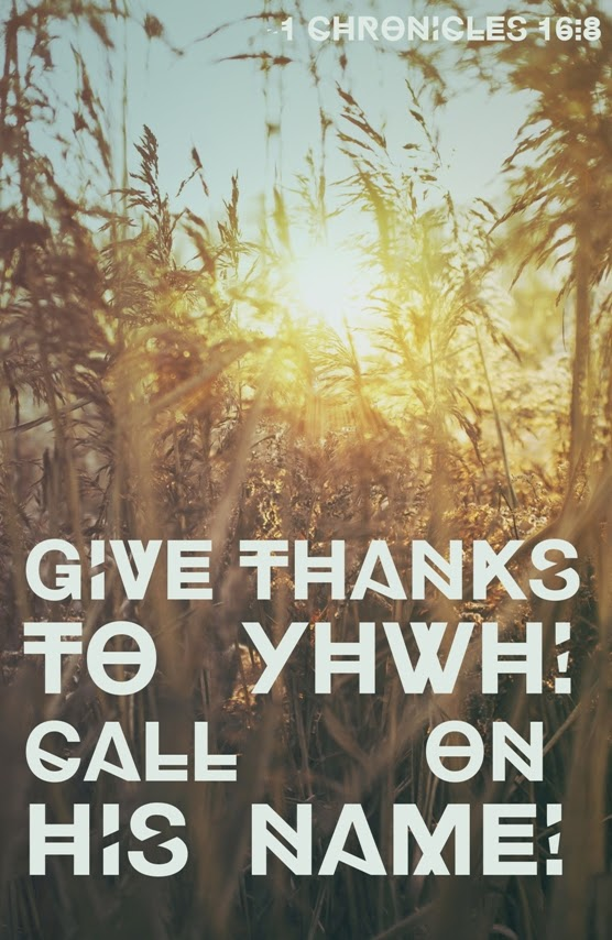 Give thanks to YHWH -1 Chronicles 16:8 | Land of Honey