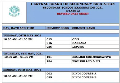 CBSE Board Exam 2021: Revised Exam Date Sheets For Class 10th &12th
