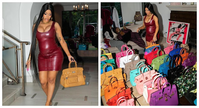 Pregnant Cardi B shows off her Birkin bag collection in new photos(Photos)