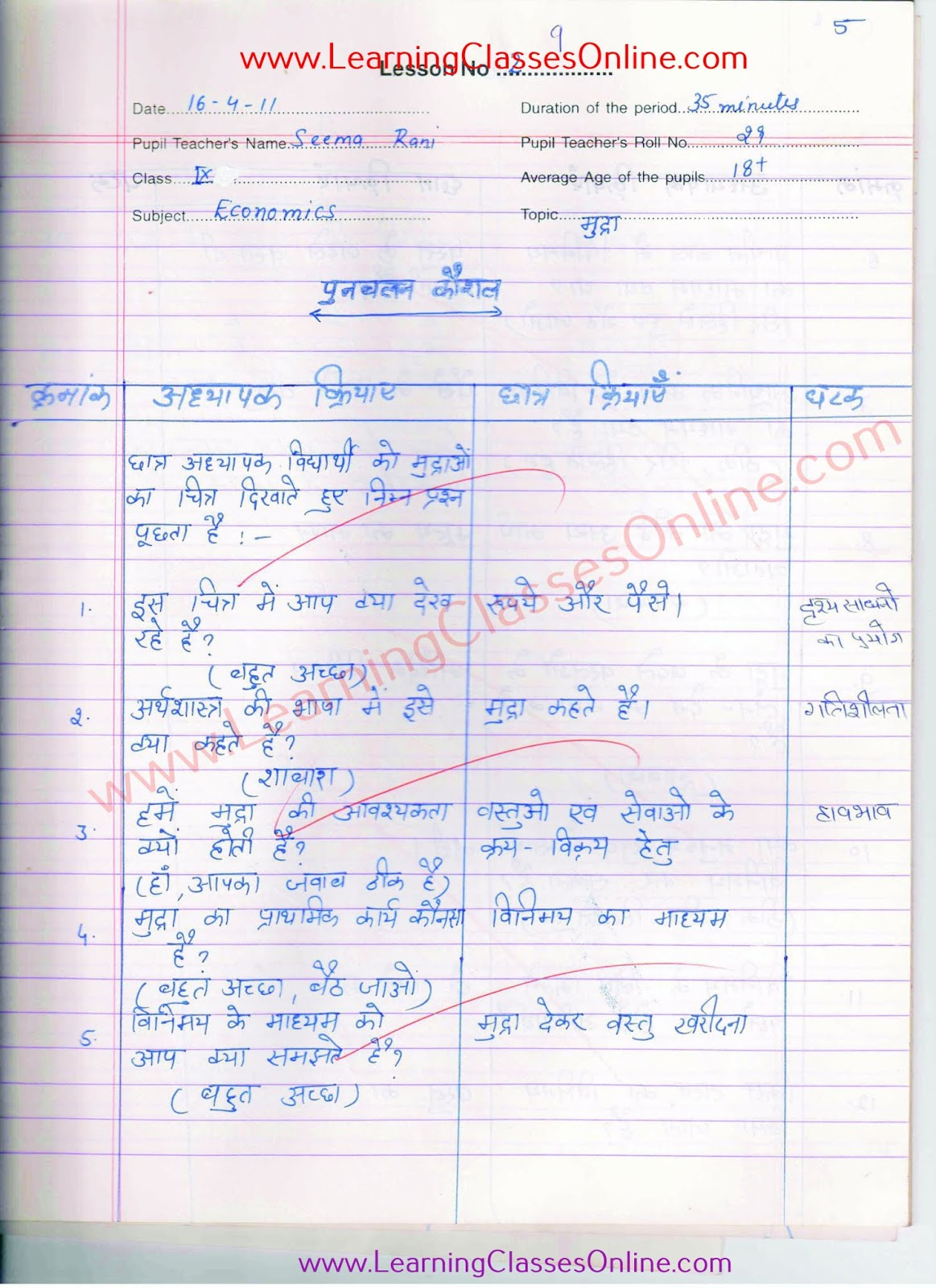 skill of reinforcement in economics in hindi