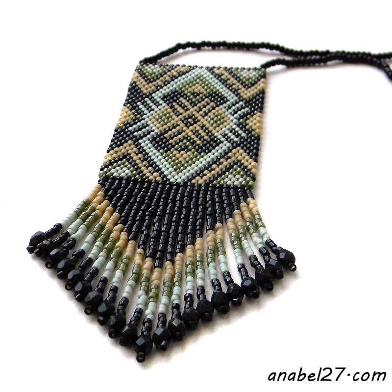купить серьги и кулон из бисера этника