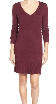 BP. maroon over the knee length sweater dress