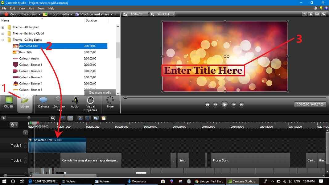 Cara menyisipkan judul video di camtasia