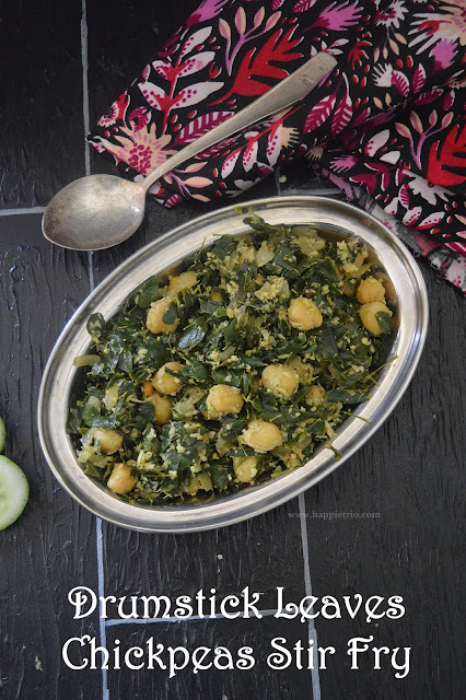 Drumstick Leaves Channa Stir Fry | Moringa Leaves Chickpeas Poriyal