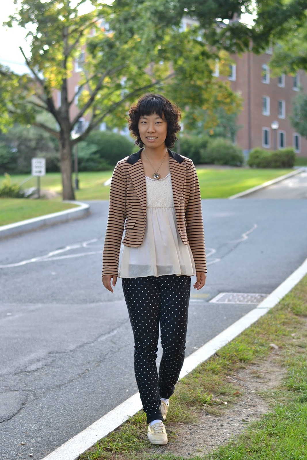 stripes and polkadots outfit