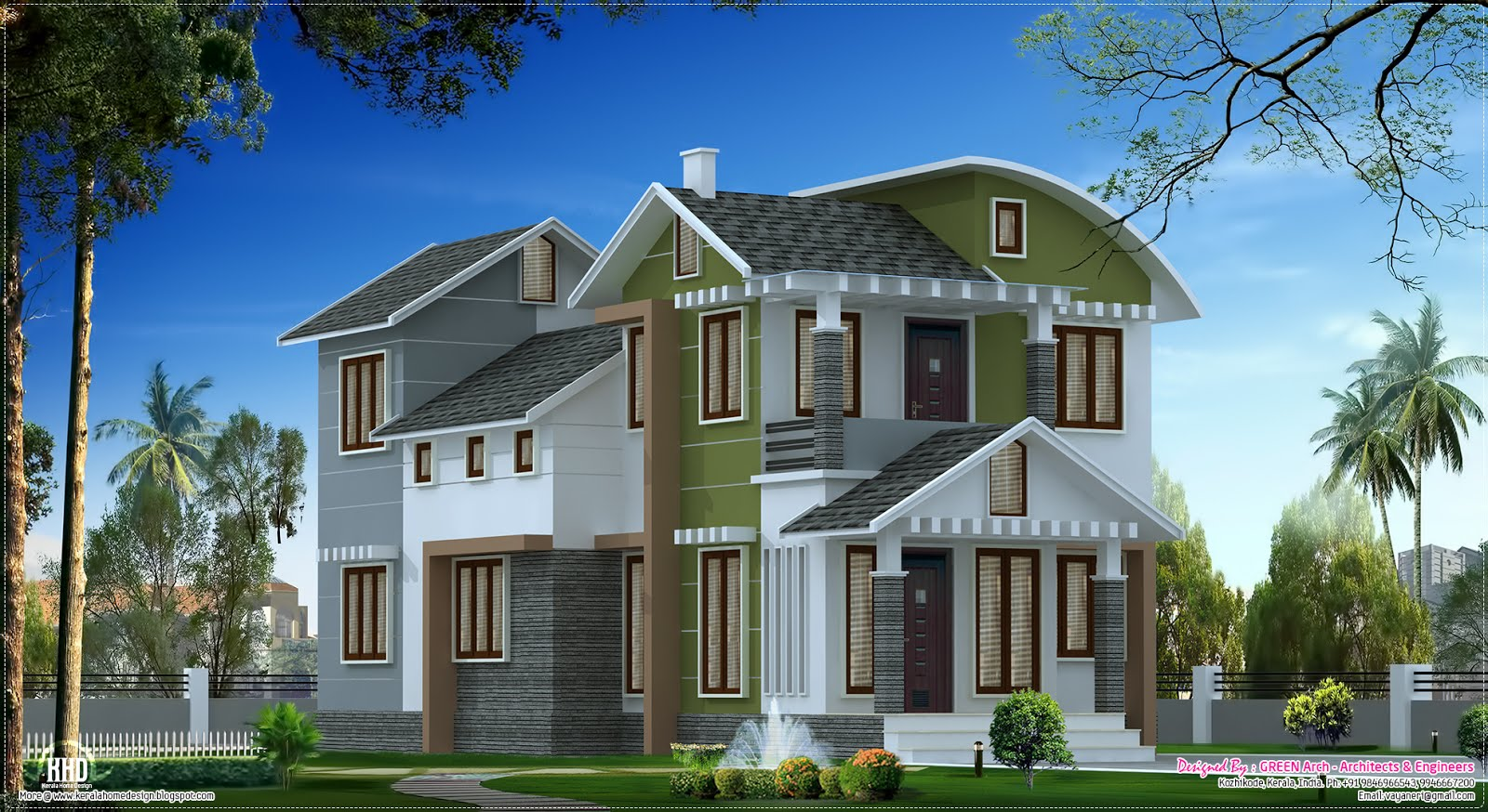 Villa Elevation Design In 1900 Sq Feet Kerala Home
