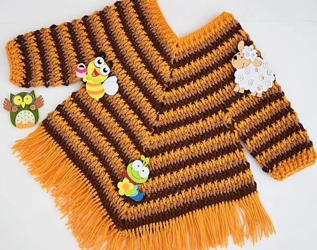 Tutorial Poncho con Mangas para Niño o Niña a Crochet