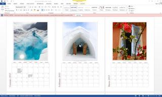 Word: calendario con fotografie