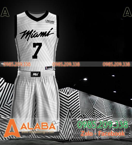 Áo bóng rổ Miami hot màu trắng