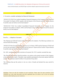 resolution for adoption of annual accounts in agm
