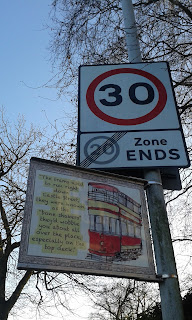 A while back I noticed a sign on a lamppost that said the area used to have a tram line running through it