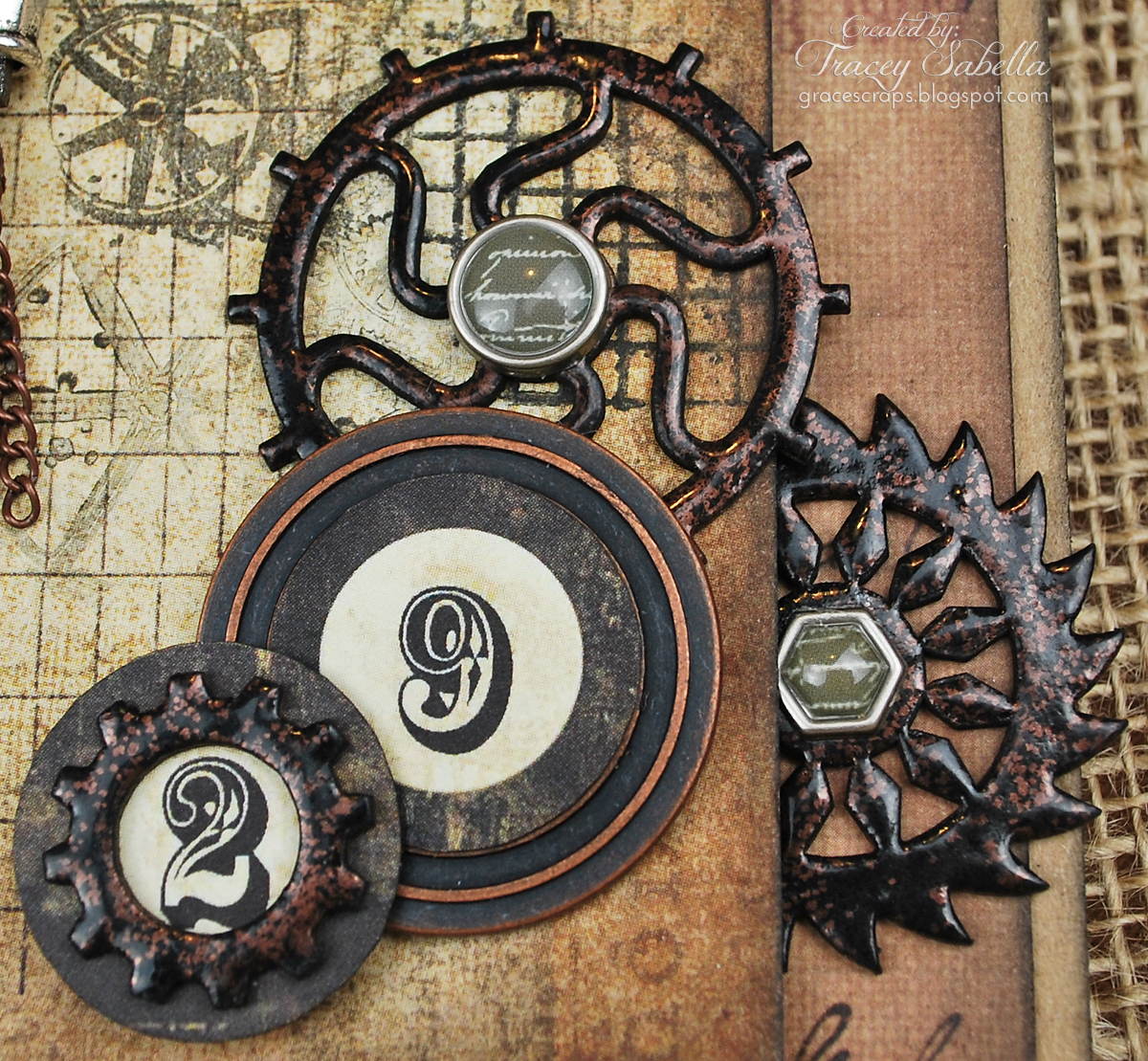 Steampunk, Tracey Sabella, Leaky Shed Studio, Donna Salazar, Helmar, Prima, Mixed Media