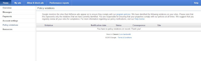 Adsense policy violation page with no violations