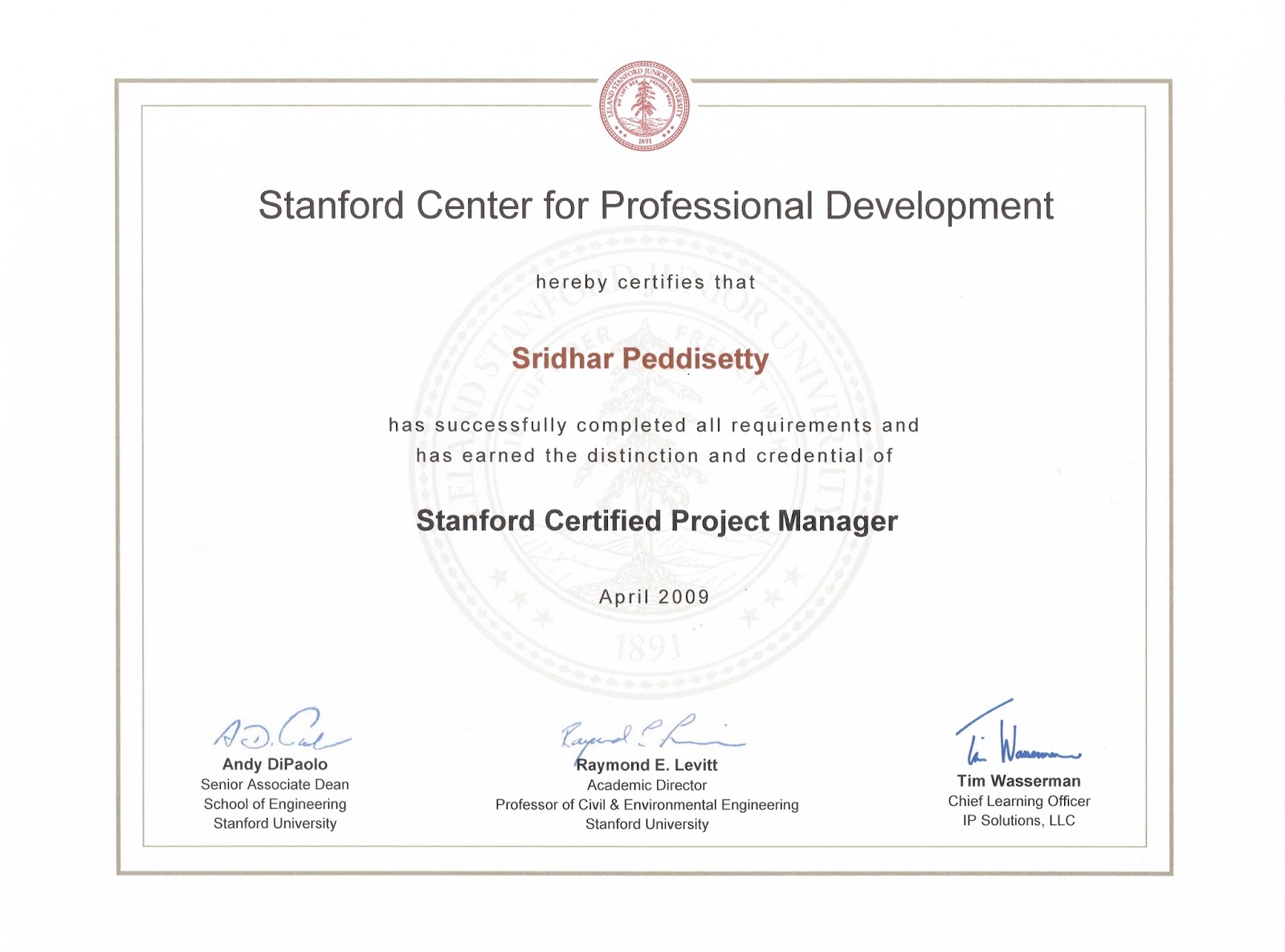 Sridhar Peddisettys Space Advanced Project Management Certificate