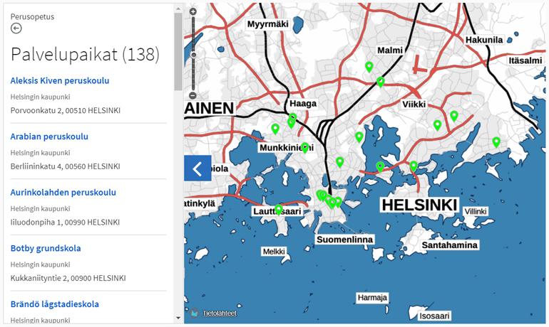 Suomi.fi julkiset palvelut verkkopalvelu tieto lapsiperheille perusopetus helsinki reittiopas koulut kartalla