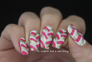 Pink, gold and white fishtail manicure