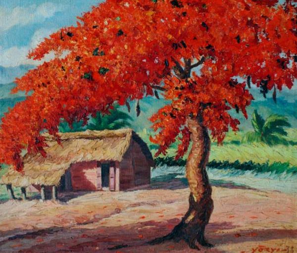 Rancho con framboyán, Yoryi Morel, 1938