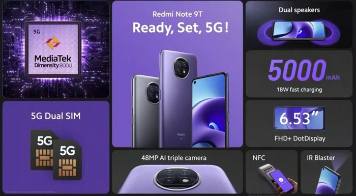 Xiaomi Redmi Note 9T-Pricing Availability
