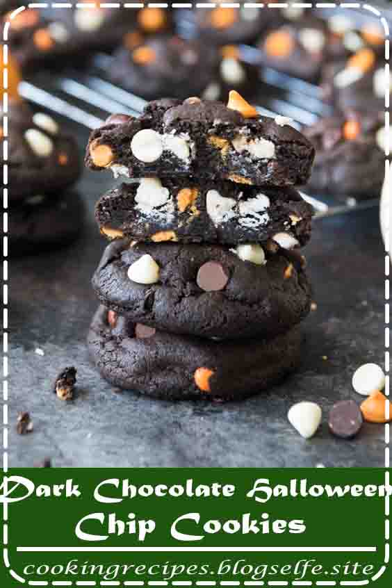 4.8 ★★★★★ | Dark Chocolate Halloween Chip Cookies have a super soft and black-as-night dark chocolate cookie base that is studded with sweet white chocolate chips and creamy peanut butter chips for a frighteningly delicious treat! #dalloween desserts #recipes #baking