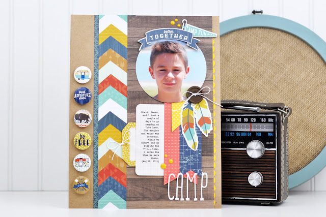"""Camp"" Scrapbooking Process Video created by Jen Gallacher. #scrapbooking"