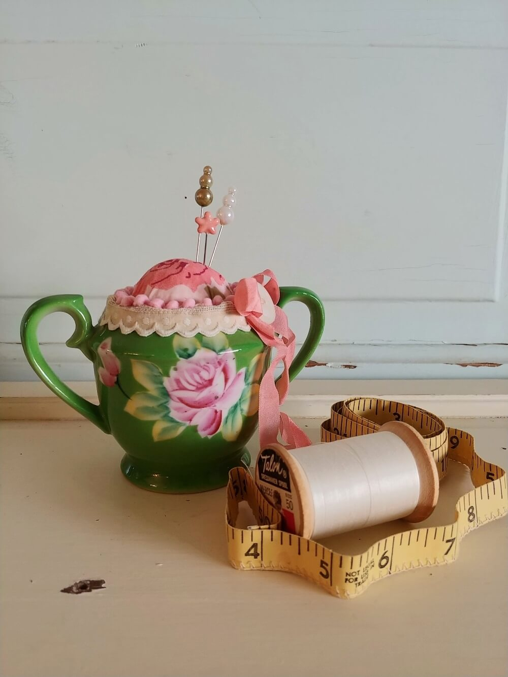 how to make a pin cushion from an old sugar bowl